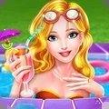 女孩泳池派对